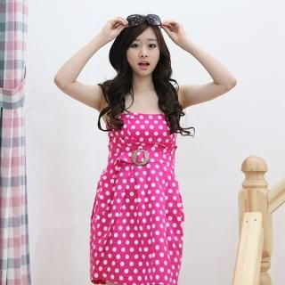 Buy NamuDDalgi Polka-Dot Belted Tube Dress 1022857100