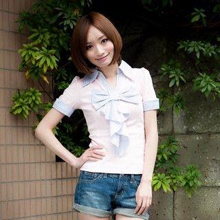 Buy ageha@shibuya Keyhole Back Striped Bow Top Pink – One Size 1022193134