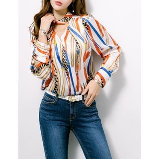 Cutout-Front Pattern Top 1058125814