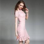 Lace Short / 3/4 Sleeve Ruffle Hem Dress 1596