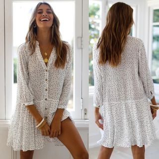 Image of Dotted 3/4-Sleeve A-line Dress