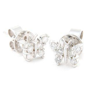 Image For 18K White Gold Butterfly Earrings with Diamonds