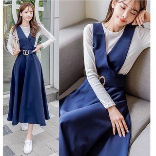 Set: Long-Sleeve T-Shirt + A-Line Midi Pinafore Dress 1062969762