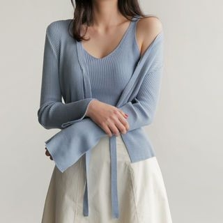 Set: Tie-Front Ribbed Cardigan + Spaghetti-Strap Top 1058275280