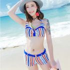 Set: Patterned Bikini Top + Swim Shorts + Cover-Up 1596