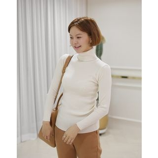 Turtle-Neck Slim-Fit Ribbed Top 1063760393