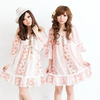 Picture of ZOO 3/4-Sleeve Floral Chiffon Dress 1022931964 (ZOO Dresses, Womens Dresses, Taiwan Dresses, Chiffon Dresses)