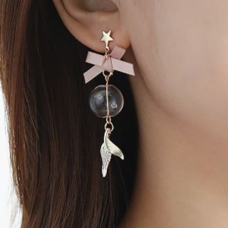 Image of 925 Sterling Silver Mermaid Tail Glass Ball Dangle Earring 1 Pair - Pink & Gold - One Size