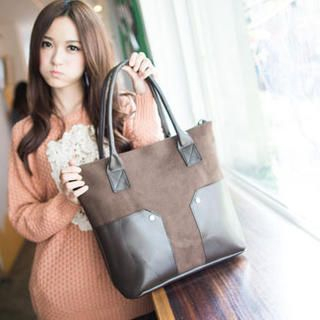 Faux-Leather Panel Canvas Tote