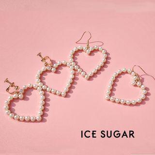 Earring | Pearl | Heart | Faux