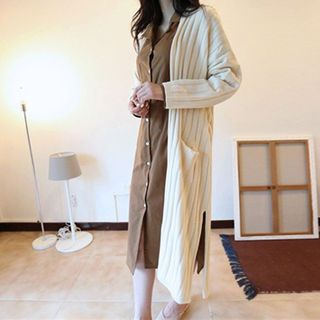 Open-Front Ribbed Long Cardigan 1061842826