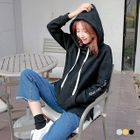 Texted Graphic Fleece Lined Hoodie 1596