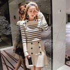 Set: Stripe Long-Sleeve Knit Top + Mini Skirt 1596