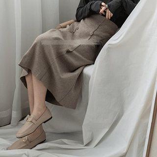 Image of High-Waist Button Detail Midi Knit Skirt