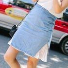 Pleated Panel Denim Skirt 1596