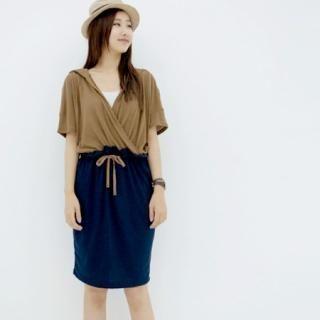 Buy the mari Hooded Color-Blocked Dress 1022992807