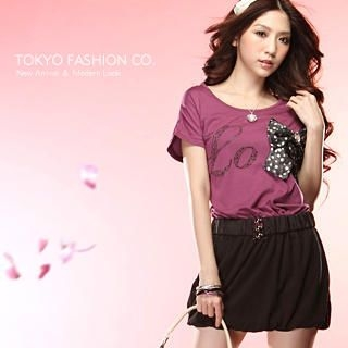 "Buy Tokyo Fashion Mock Two-Piece Rhinestone ""Bow"" Dress 1022589930"