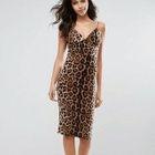 Sleeveless Leopard Printed Dress 1596