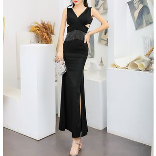 Image of Cut-Out Side-Slit Sleeveless Sheath Evening Gown