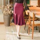 Lace-Hem Ruffle Midi Skirt 1596