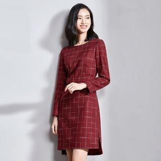 Tie-Waist Plaid Long-Sleeve Dress 1064425994