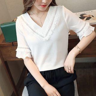 V-neck Short-Sleeve Top 1059654991