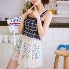 Set: Plaid Tankini Top + Swim Shorts + Lace Skirt 1596