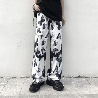 Image of Butterfly Print Wide-Leg Pants