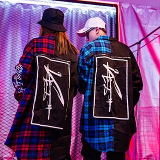 Image of Couple Matching Plaid Panel Lettering Shirt