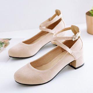Image of Plain Ankle Strap Block Heel Pumps