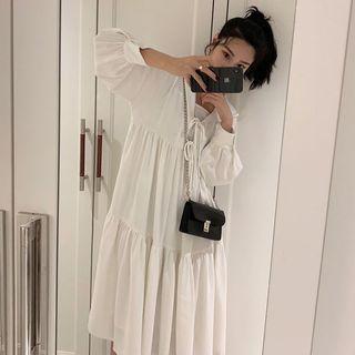 Image of Set: Balloon Long-Sleeves Hooded Flare Midi Dress + Slip Dress