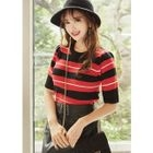 Short-Sleeve Striped Knit Top 1596