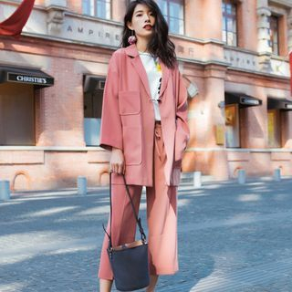Set: Long Blazer + Wide Leg Cropped Pants 1062087279