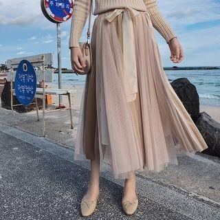 Image of Mesh Panel A-Line Midi Velvet Skirt