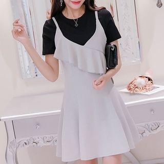 Set: Plain Short-Sleeve T-Shirt + Strappy A-Line Dress 1059386721