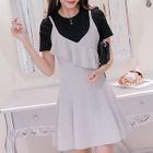 Set: Plain Short-Sleeve T-Shirt + Strappy A-Line Dress 1596