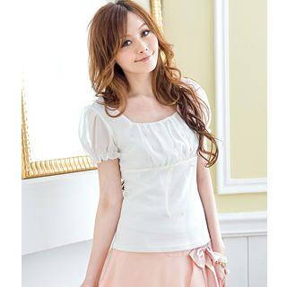 Buy Tokyo Fashion Puff-Sleeve Rhinestone Ruched Top 1023062771