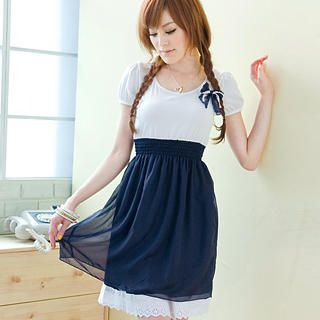 "Buy Tokyo Fashion Short-Sleeve ""Bow"" Panel Dress 1023062899"