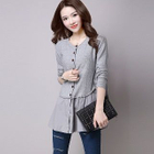 Paneled Buttoned Knit Cardigan 1596