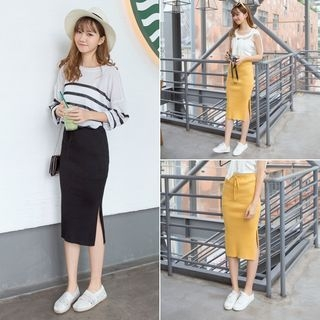Ribbed Midi Skirt 1053262384