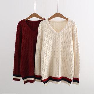 Ribbed V-neck Long-Sleeve Knit Top 1063477638