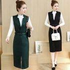 Set: Plain Mock Neck Long Sleeve T-Shirt + Pinafore Sleeveless Midi Dress 1596