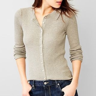 Plain Ribbed Basic Cardigan 1062747585