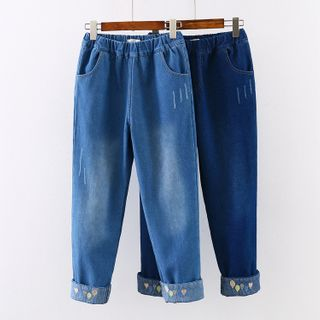 Image of Balloon Embroidered Straight-Cut Jeans