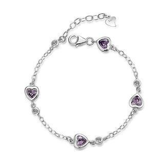 Purple cubic zirconia heart bracelet