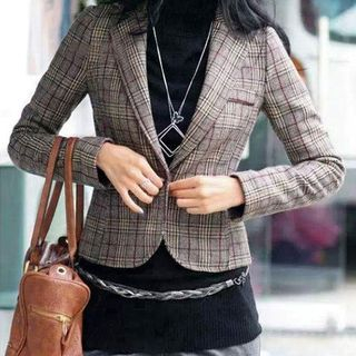 Plaid Buttoned Blazer - United states