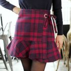 Plaid Ruffled Mini Skirt 1596