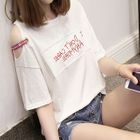 Cutout Shoulder Letter Short-Sleeve T-shirt 1596