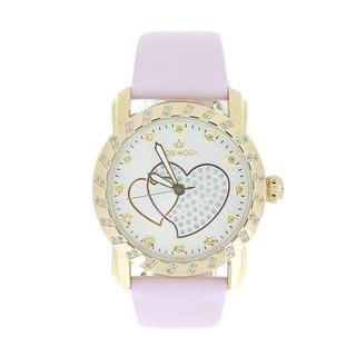 Steel / Leather Watch with Cubic Zirconia One Size