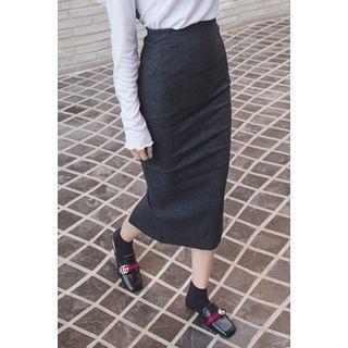 Slit-Side Ribbed Skirt 1057566678